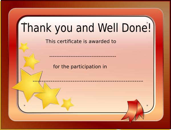 Participation Certificate Clip Art at Clker.com - vector ...