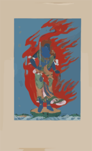 [mythological Blue Buddhist Or Hindu Figure, Full-length, Standing On Small Island Among Waves, Facing Right, Against Backdrop Of Flames With Phoenix Head] Clip Art