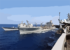Msc Usns Leroy Grumman Conducts Underway Replenishment Clip Art