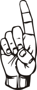 Sign Language D, Finger Pointing Clip Art