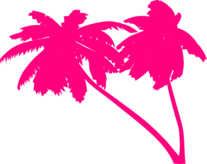 Double Pink Palm Trees Clip Art