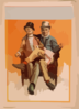 [two Men Sitting In One Chair, One Man S Leg Over The Other S, Both Smoking] Clip Art