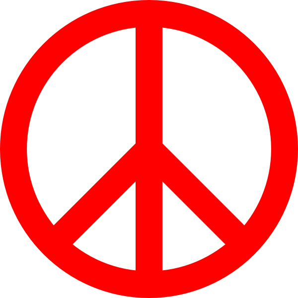 Red Peace Sign Clip Art at Clker.com