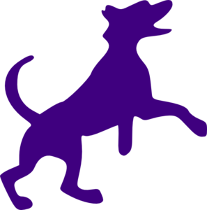 Purple Dog Sillohette Clip Art