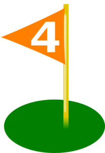 Golf Flag 4th Hole Bold White Number Clip Art