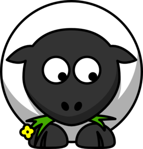 Sheep Looking Right-down Clip Art