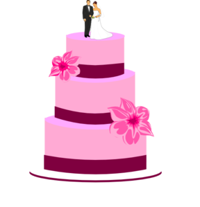 Wedding Cake With Bride And Groom Clip Art