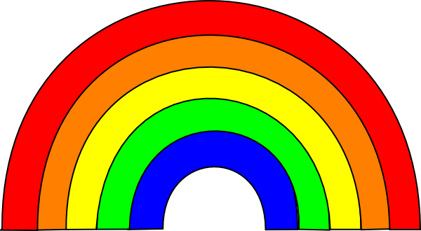 Rainbow with clouds blue arch fixed clip art at for How to make a rainbow arch