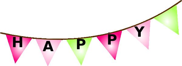 Pink Brown Bunting Bday Clip Art At Clker Com Vector