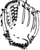 Baseball Glove B And W Clip Art