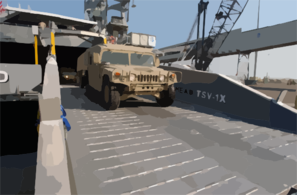 United States Army Vessel (usav) Theater Support Vessel-1x (tsv-1x) Offloads A High Mobility Multipurpose Wheeled Vehicle Clip Art