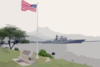 The Russian Federation Navy Udaloy Class Destroyer Marshal Shaposhnikov (ddg 543) Passes The Uss Nevada Memorial Clip Art
