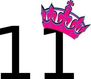 Pink Tilted Tiara And Number 11 Clip Art