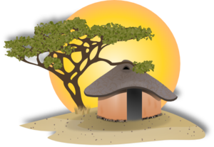 African Cottage Clip Art