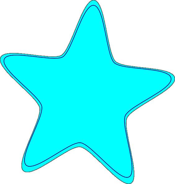 Bright Neon Blue Star Clip Art Clker Vector