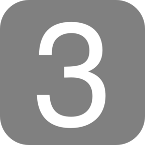 Gray, Rounded, Square With Number 3 Clip Art