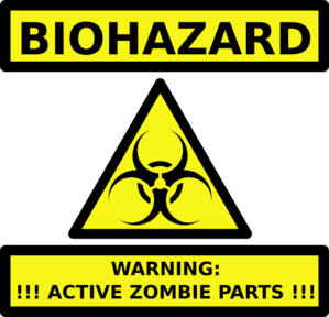 Zombie Parts Warning Label Clip Art