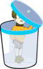 Boy In A Bin With Lid Clip Art