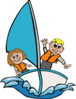 Sailboat With Kids Clip Art