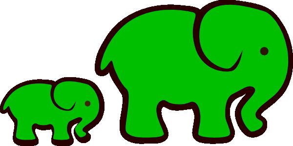 Green Elephant Mom Amp Baby Clip Art At Clker Com Vector