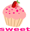 Strawberry Cupcake With Pink Frosting Clip Art