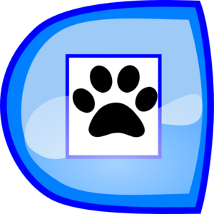 Blue Stop Button With Paws Clip Art
