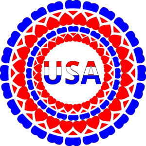 Heart Usa Circles Clip Art