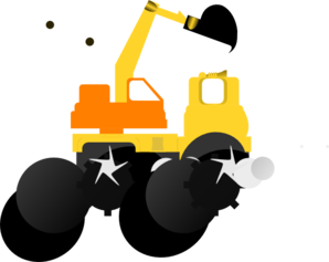 Bulldozer, Orange And Yellow Clip Art