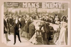 The Big Scenic Production, Man S Enemy By Chas. A. Longdon & Eric Hudson : Now In Its Fourth Year In England. Clip Art