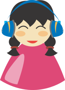 Girl With Headphone Clip Art