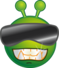 Smiley Green Alien Cool No Shadow Clip Art