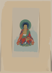 [religious Figure, Possibly Buddha, Sitting On A Lotus, Facing Front, With Blue/green Halo Behind His Head] Clip Art