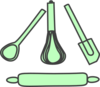 Bakery Utensils Pastel Green Clip Art