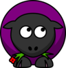 Sheep Looking Right-down Purple Clip Art