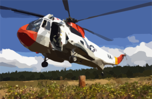 A Uh-3h Sea King Helicopter Assigned To Fleet Logistics Search And Rescue Team, Naval Air Station Whidbey Island, Conducts Hovering Exercises During A Training Flight Clip Art
