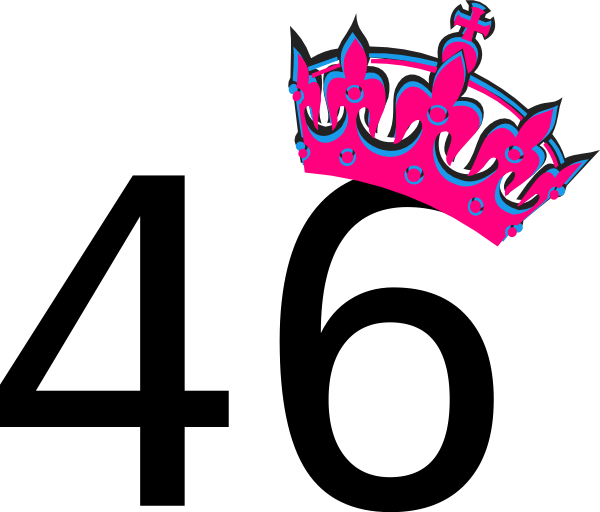 Pink Tilted Tiara And Number 46 Clip Art At Clker Com