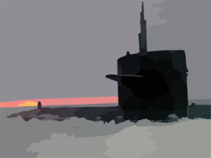The Los Angeles-class Fast Attack Submarine Uss Honolulu (ssn 718) Sits Surfaced 280 Miles From The North Pole At Sunset. Clip Art