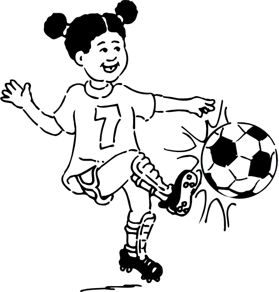Girls playing football clipart