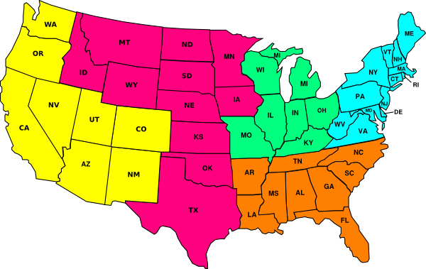 Us Color Map With Sales Cover Regions Clip Art At Clker