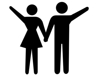 Boy+girl Waving Before Jumping Into Volcano Clip Art