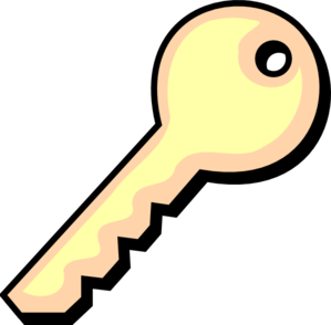 Two Tone Yellow Key Clip Art