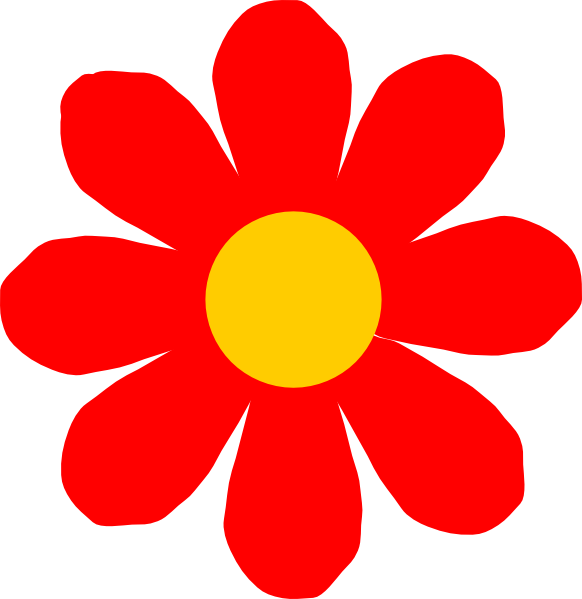 Simple red flower clip art