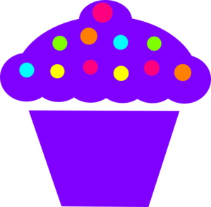 Purple Polka Dot Cupcake Clip Art
