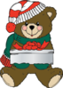 Christmas Teddy Bear With Gift Clip Art