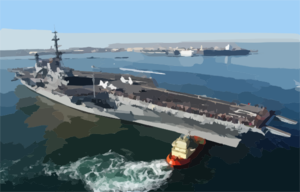 The Decommissioned Aircraft Carrier Midway Makes Its Way Across The San Diego Bay To Its Final Resting Place At Navy Pier Where It Will Become The Largest Museum Devoted To Carriers And Naval Aviation. Clip Art