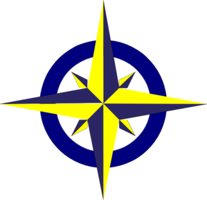 Blue And Gold Compass Clip Art