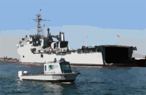 Security Personnel Patrol The Waters Of Anaheim Bay While The Amphibious Transport Dock Ship Uss Denver (lpd 9) Takes On Ammunition. Clip Art