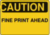 Caution Fine Print Ahead Clip Art