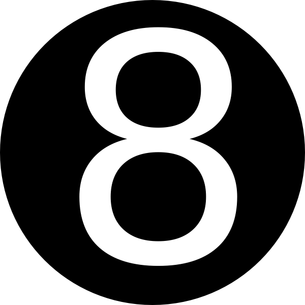 Number 8 Clipart Black And White Black, Rounded,...