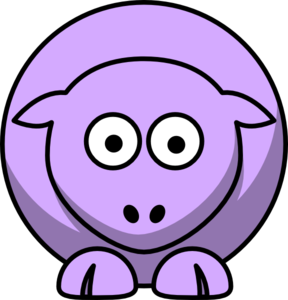 Sheep Looking Straight Lilac Clip Art